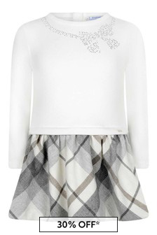 Girls Ivory And Grey Check Dress
