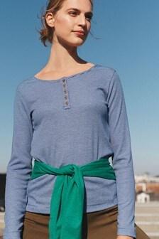 Blue Long Sleeve Henley Top