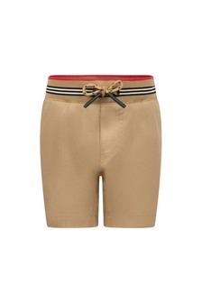 Baby Boys Beige Cotton Shorts