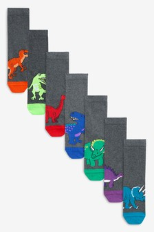 Grey 7 Pack Dinosaur Socks (Older)