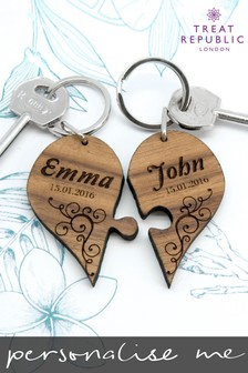 Personalised Couples Joining Keyring by Treat Republic