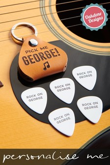 Personalised Leather Plectrum Holder With Personalised Plectrums by Oakdene Designs