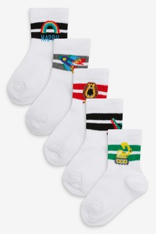 White 5 Pack Ribbed Character Sports Socks (Younger)
