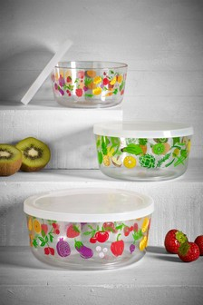 Set of 3 Fruit & Veg Print Food Containers