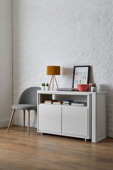 White Gloss Swivel Desk