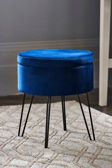 Opulent Velvet Navy Storage Stool