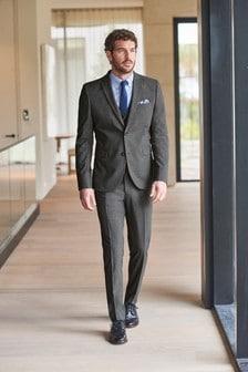 Grey Skinny Fit Stretch Marl Suit: Jacket