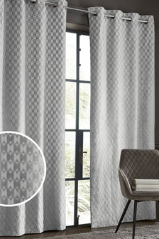 Cut Velvet Geo Eyelet Curtains