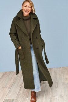 Khaki Emma Willis Bouclé Revere Coat