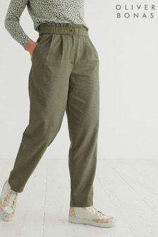 Oliver Bonas Khaki Woven Trousers