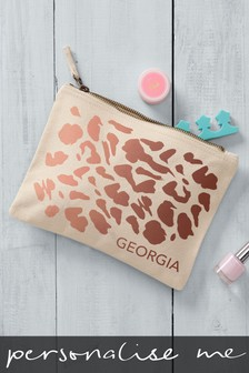 Cream Personalised Rose Gold Animal Print Small Cosmetic Bag