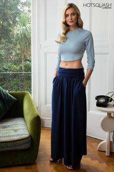 HotSquash Inky Navy Luxury Roll Top Maxi Skirt