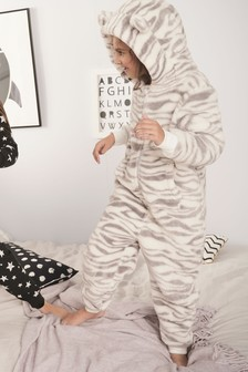 Monochrome Zebra Print Fleece All-In-One (1.5-16yrs)