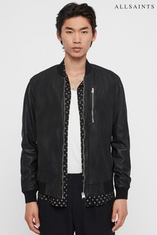 AllSaints Black Kino Collarless Leather Jacket
