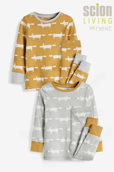 Scion Mr Fox At Next Ochre/Grey Cotton Pyjamas 2 Pack (12mths-10yrs)