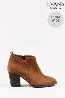Evans Curve Extra Wide Fit Brown Heeled Ankle Boots