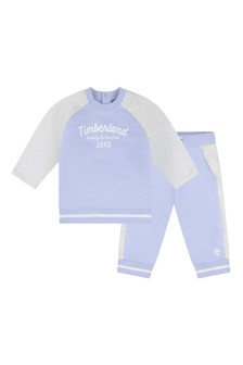 Baby Boys Pale Blue Cotton Tracksuit