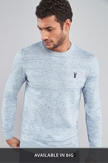 Light Blue Cotton Rich Stag Marl Jumper