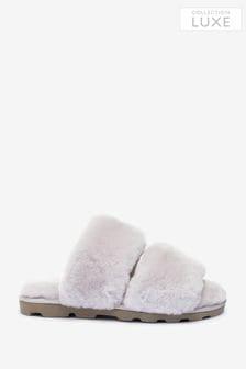 Grey Premium Shearling Slider Slippers