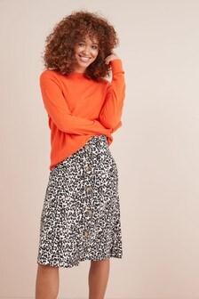 Leopard Print  Button Skirt
