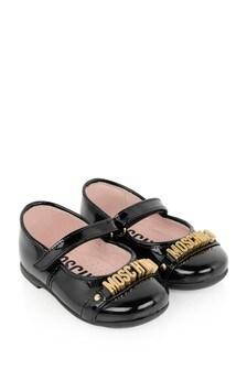 Girls Black Leather Logo Ballerina Shoes