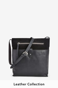 Black Leather Messenger Across-Body Bag