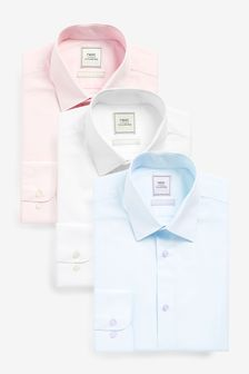 Blue/Pink/White Slim Fit Single Cuff Shirts Three Pack