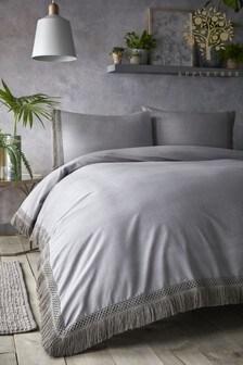 Tasha Tassels Cotton Duvet Cover And Pillowcase Set by Appletree