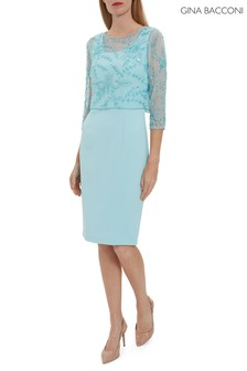 Gina Bacconi Blue Abigail Crepe Dress With Beaded Overtop