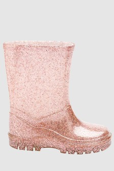 Rose Gold Pink Glitter Wellies