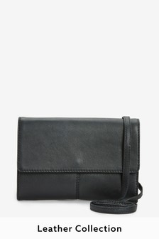 Black Leather Across-Body Bag