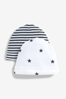 Monochrome 2 Pack Star Stripe Beanies (0-18mths)