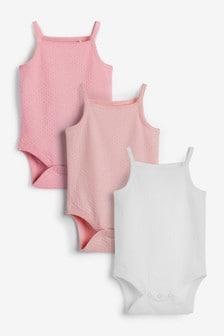 Pink 3 Pack Textured Vest Bodysuits (0mths-3yrs)