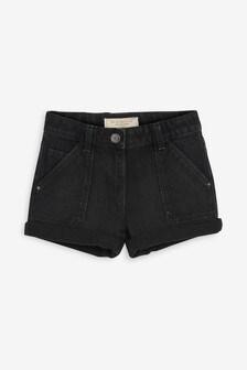 Black Turn-Up Denim Shorts (3-16yrs)