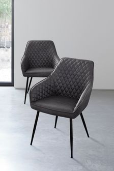 Monza Faux Leather Grey Set of 2 Hamilton Arm Dining Chairs With Black Legs