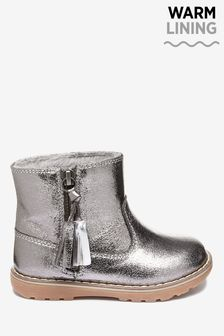 Pewter Warm Lined Tassel Ankle Boots (Younger)