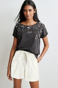 Charcoal Sequin Embellished T-Shirt
