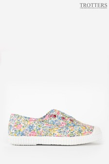 Trotters London Pink Liberty Plum Canvas Shoes