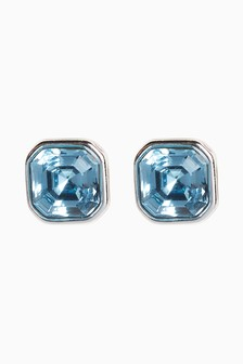 Silver Plated/Blue Stud Earrings With Swarovski® Crystals
