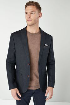 Navy Signature Textured Linen Blend Slim Fit Nova Fides Blazer