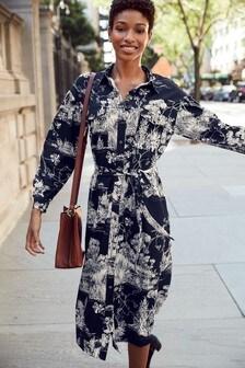 Scenic Print Utility Pocket Long Sleeve Dress