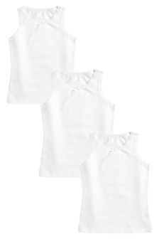 White 3 Pack Vests (1.5-16yrs)
