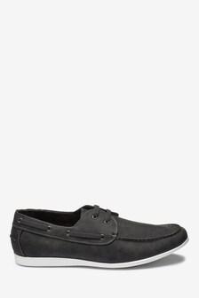 Grey Textured Boat Shoe