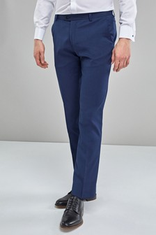 Blue Slim Fit Stretch Formal Trousers