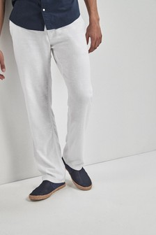 White Linen Blend Drawstring Trousers
