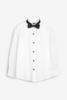 White Long Sleeve Smart Wing Collar Shirt With Black Bow Tie (3-16yrs)