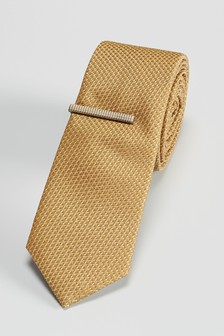 Gold Textured Tie With Tie Clip