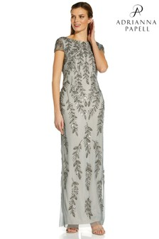 Adrianna Papell Grey Beaded Short Sleeve Gown
