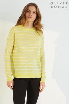 Oliver Bonas Yellow Ottoman Stripe Knitted Jumper