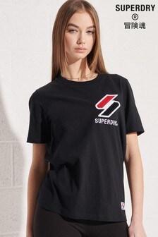Superdry Black Organic Cotton Sportstyle Chenille T-Shirt
